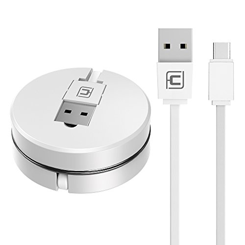 Retractable USB C Cable, CAFELE Type C Charging Sync Portable Flexible Cable for Samsung Galaxy Note 8 S8 Plus, LG G5 G6 V30, Nexus 5X/6P, Google Pixel XL, White, 3.3ft