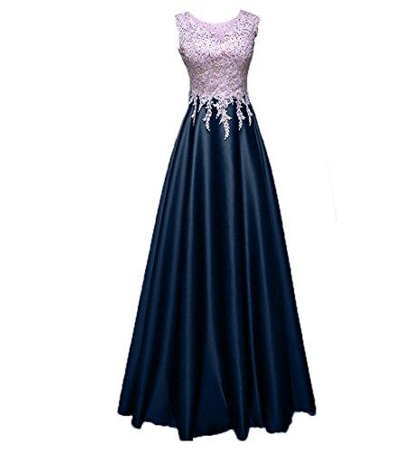 Brautmutterkleider Lang Promkleider Satin Rock Blau Navy Braut Abschlussballkleider La A Spitze Abendkleider mia Linie qpFSwRX
