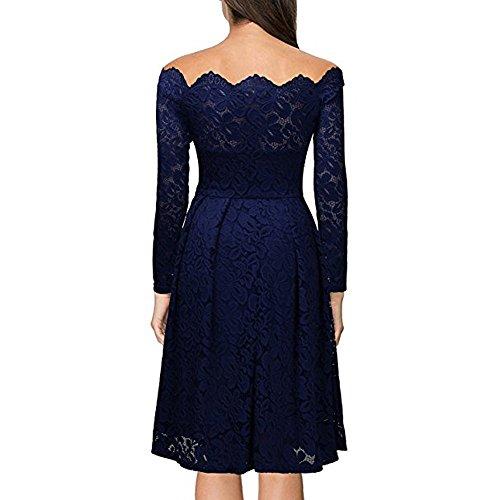 la vestido vestido las manga descubiertos de mujer elegante coctel hombros vendimia noche de AIMEE7 de vestido mujeres fiesta vestido de escote Azul de larga fiesta Vestido formal awSq1Y