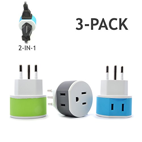 OREI Italy, Uruguay Travel Plug Adapter - 2 USA Inputs - 3 Pack - Type L (US-12A) - Does Not Convert Voltage (Outlet Round Socket Pin)