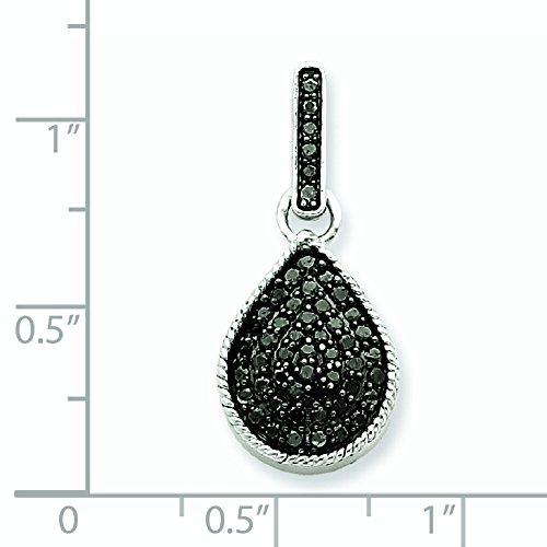 Or blanc 14 carats Diamant noir-JewelryWeb pendentif en forme de goutte