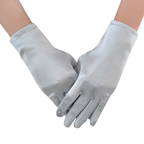 JISEN Women 20s Formal Bridal Satin Banquet Party Wedding Opera Colorful Gloves 9 Inch Silver Grey