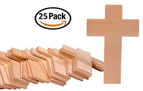 Creative Hobbies 4.25 Inch High Unfinished Wooden Cross Shapes, Pack of 25, Ready to Paint or Decorate (Wooden Crafts Cross)