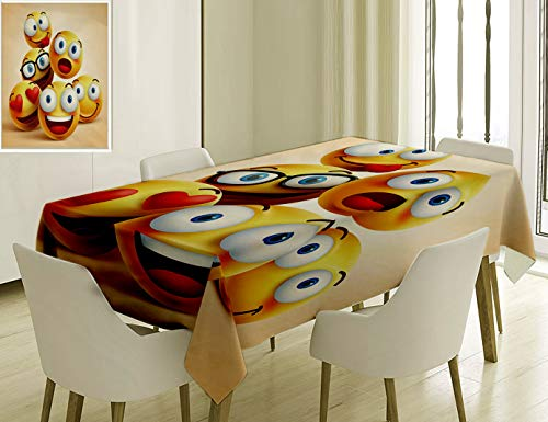 (Unique Custom Cotton And Linen Blend Tablecloth 4 Smiley Faces Group Of Emoticon Characters With Funny Facial Expressions D RealisticTablecovers For Rectangle Tables, Small Size 48 x 24)