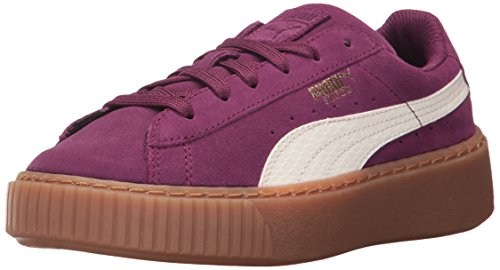 PUMA Unisex-Kids Suede Snk Platform, Dark Purple-Marshmallow, 12.5 M US Little Kid