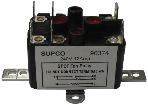 Supco 90374 General Purpose Fan Relay, 12 A Load Current, 240 V Coil Voltage, Single Pole Double Throw Contacts