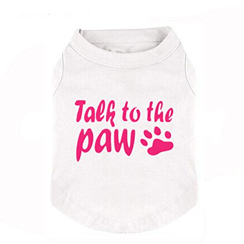Dog Summer T Shirt , Puppy Lightweight Vest Clothes Breathable Sleeveless T-shirt Cat Puppy Casual Clothes for Summer Spring (S, White) by Mummumi (Image #1)