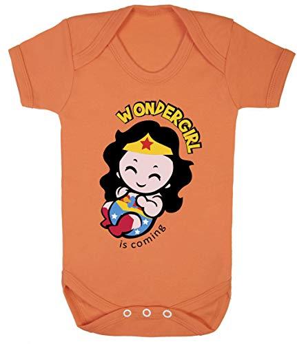 Wondergirl is Coming Little Wonder Woman Baby Bodysuits Onesie 100% Cotton (0-3 Months, Orange) -
