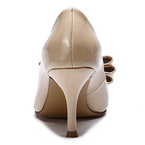 Heels Hochzeit L für Heel High Frauen Schuhe PU spitz Aprikose schwarz Abend Zehe Herbst Sommer YC qaxYwU