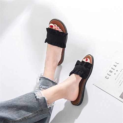 Womens Outdoor Leather Summer Beach Leather Casual Slippers 2154 Black ONLwBP