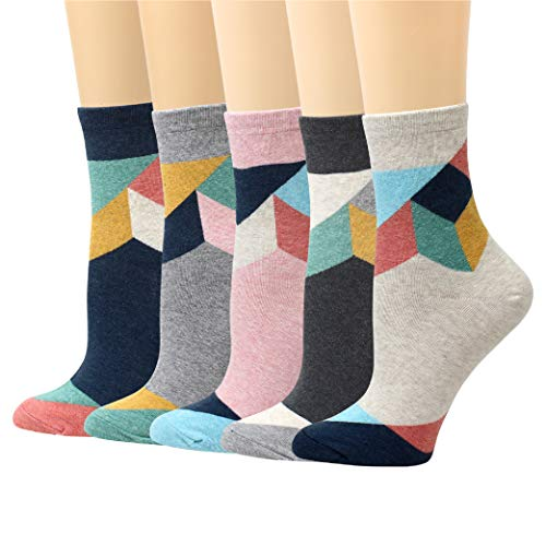 (LIVEBEAR 4/5/6/7 Pairs Womens Cute Prints Patterns, Novelty, Casual Cotton Crew Socks Made In Korea (Cube))