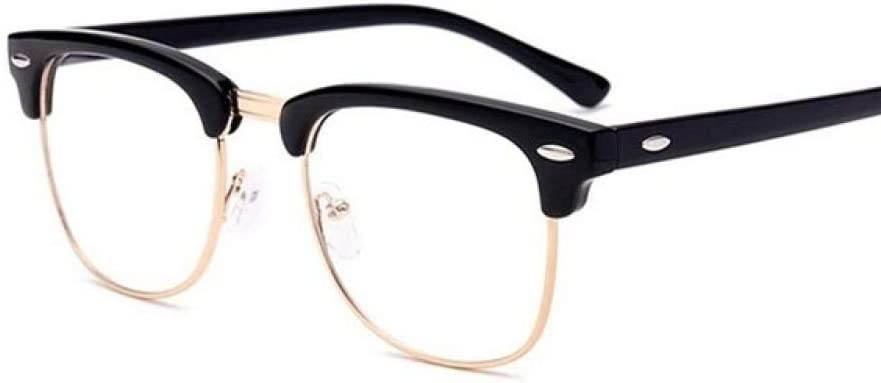 YJLC Occhiali da Sole Lenti Trasparenti Cornice Quadrata in Metallo Montatura per Occhiali Uomo Donna Bright black