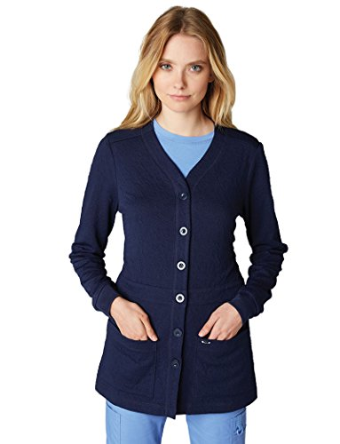 Scrubs Knit Jacket (KOI Lite Women's Claire Button Front Solid Cardigan Scrub Jacket Medium Navy)
