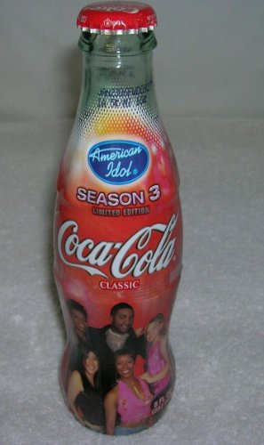 American Idol Season 3 Coca Cola Bottle Wrapped Logos Unopened 8 Oz Bottle - Season Coke Bottle