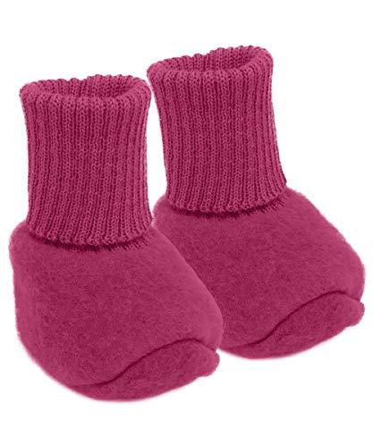 Infant Baby Warm Booties Socks, 100% Organic Merino Wool Fleece (6-12 months, Berry)