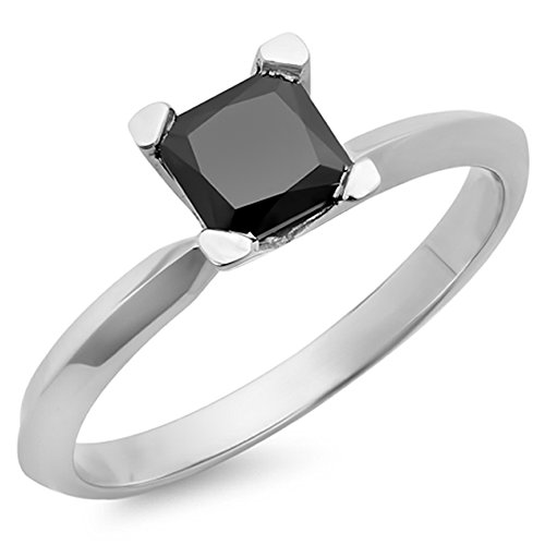 (Dazzlingrock Collection 2.00 Carat (ctw) 14K White Gold Black Diamond Solitaire Bridal Engagement Ring 2 CT (Size 4.5))