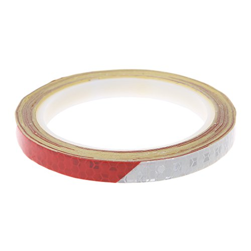 Susada Bicycle Reflective Sticker Safety Warning Cycle Fluorescent Decal Tape (Red+White)