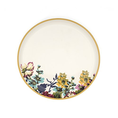 Joules New Bone China Floral Side Plate with Yellow Rim, White by Joules