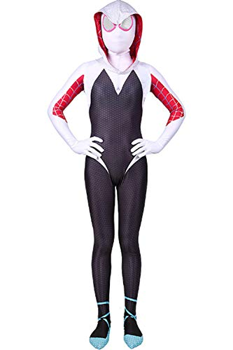 CHECKIN Toddler Kids Spider Verse Miles Morales Gwen Jumpsuit Bodysuit Black Spider Boy Tights Cosplay Costume (Child XL/130-140CM, Gwen)]()