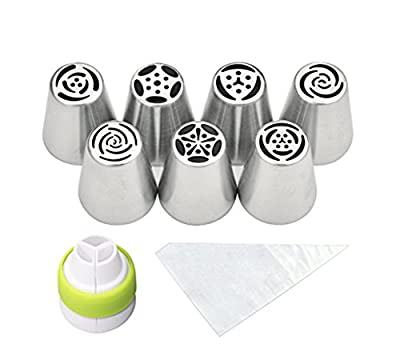M & V Cake Decoration Tips – 18 pieces per Russian Piping Tips set (7 Russian Piping Tips, 10 Disposable Pastry Bags, 1 Tri-Color Coupler) – Stainless Steel Cake Decoration Tips