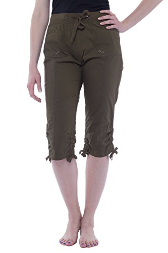 Alki'i Women's Elastic Waist Drawstring Capri with Pockets 2134 Olive M