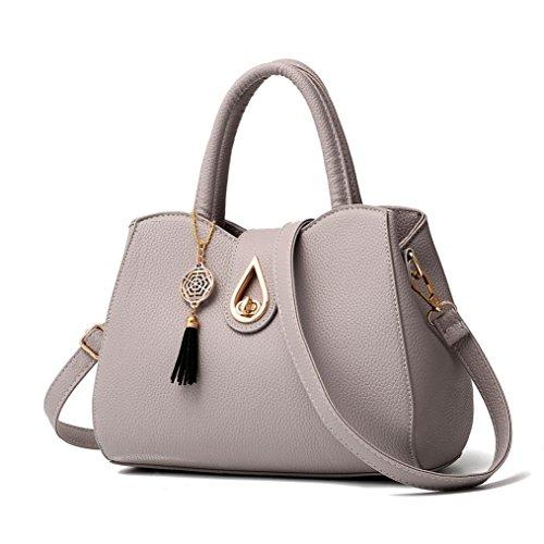 Tote Shoulder Messenger Purses Crossbody Bag Gray Pattern Bag Lywey Fashion Women Lichee Bag PU Leather xCw7qHzZ