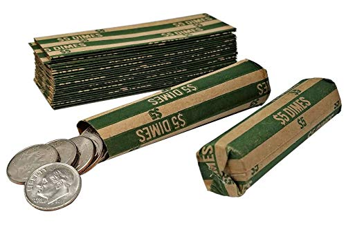 J Mark 100 Coin Roll Wrappers and J Mark Coin Deposit Slip, Flat Coin Rollers (Dime)