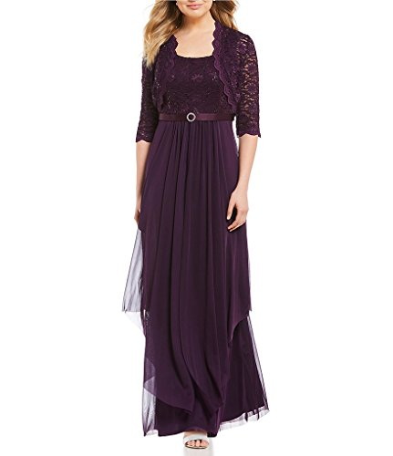 R&M Richards Womens Sequin Lace Long Jacket Dress - Mother Of The Bride Dress (14, EGGPLANT)