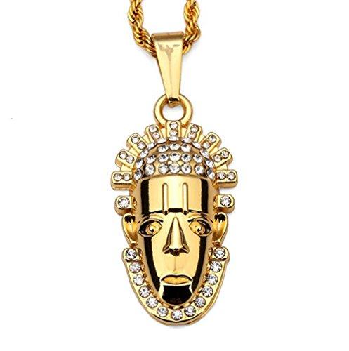 Gudeke Diamonds Fashion Womens Tête humaine Hip Hop collier pendentif avec 75cm Chain