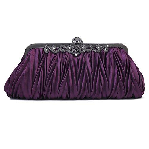 Vintage Evening Clutch Purple Women's Satin Cinched Purse Handbag Damara Envelope WqH6XgAwU