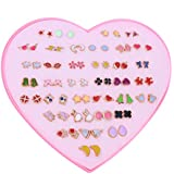 Royal Amoyy Heart Shape Hypoallergenic Colorful Cartoon Pattern Stud Earrings Set for Women Girls 36 Pairs