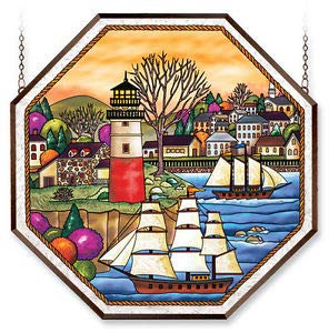 Stained Glass Suncatcher 22'' X 22'' Octagon Panel Harbour Village