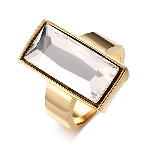 Stainless Steel Gold Plated Rectangle Large Glass Women's Fashion Cocktail Ring, White , Size - Dollar Glasses 8