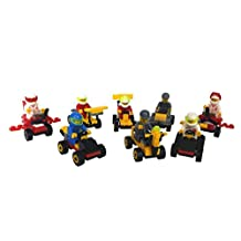 Lego-Compatible Buildable Vehicles (Set of 8) for Party Favors, Racing, Gifts, or Just to Build for Fun!