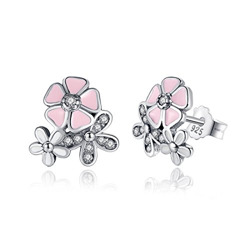 Price comparison product image BAMOER 925 Sterling Silver Poetic Daisy Cherry Blossom Earring Studs Pink Enamel with Clear CZ for Women
