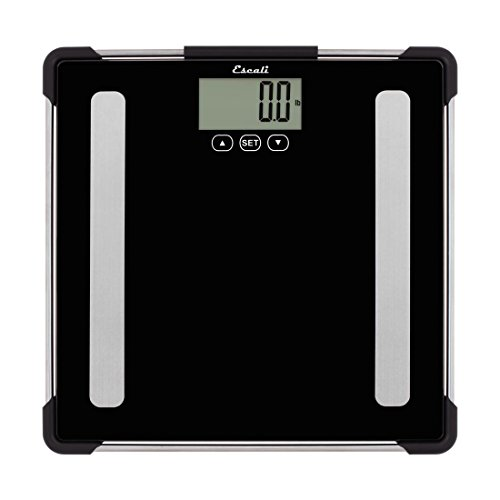 Escali Body Analyzing Bathroom Scale (400 lb/180 kg Capacity) Body Composition Scale for Measuring Weight, Body Fat, Body Water, Muscle Mass and Bone Density - Lifetime ltd. Warranty - BF180 - Black