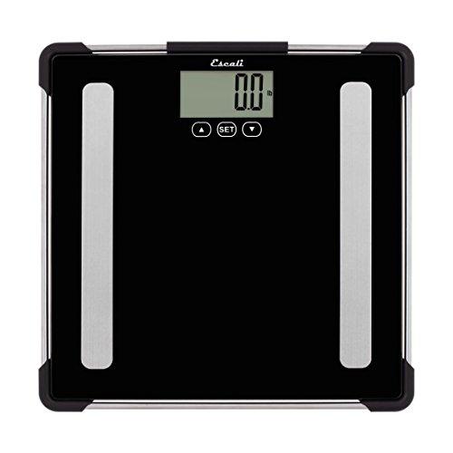 Measure Body Fat Composition - Escali Body Analyzing Bathroom Scale (200 lb/180 kg Capacity) Body Composition Scale for Measuring Weight, Body Fat, Body Water, Muscle Mass and Bone Density - Lifetime ltd. Warranty - BF180 - Black