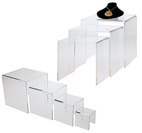 Source One Set Clear Acrylic Risers, 7-Piece (7-riser-set)