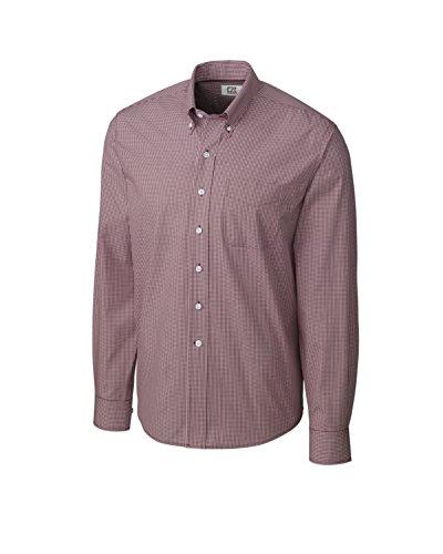 Cutter Dress Buck & Shirt Cotton (Cutter & Buck Men's Big-Tall Long Sleeve Epic Easy Care Gingham Shirt, Bordeaux, X-Large/Tall)