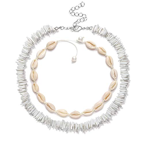(MOLOCH Puka Shell Necklaces for Women Girls Boho Handmade Cowrie Shell Choker Necklace Adjustable Beach Conch Jewelry (Puka Shell+Pearl)