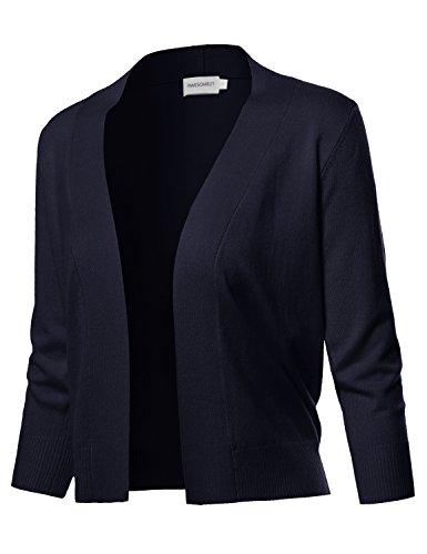 Solid Soft Stretch 3/4 Sleeve Layer Bolero Cardigan Navy Size L