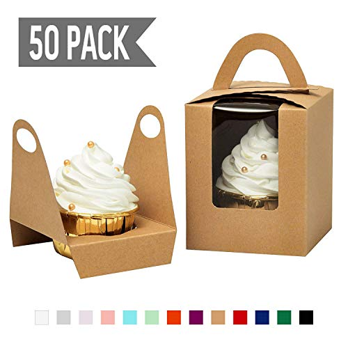 YoTruth Rustic Brown Kraft Paper Single Cupcake Holder Individual Containers 50 Count With Window Insert And Handle For Party Favors -