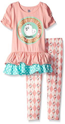 Universal Little Girls' Toddler Secret Life of Pets 2-Piece Legging Set, Coral, 2T -