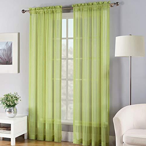 (Fiesta Solid Color Sheer Window Curtain Panel, 50 x 84, Lemongrass Green)