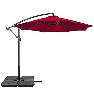 Patio Umbrella Offset 10' Hanging Umbrella Outdoor Market Umbrella New Burgundy By Allgoodsdelight365