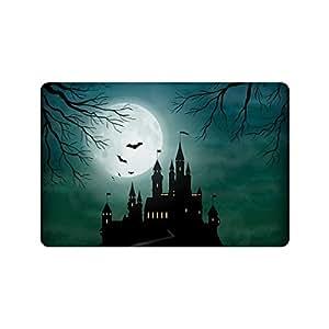 interestprint noche de luna llena decoración del hogar, halloween castillo encantado conjuntos de tela de poliéster cortina de ducha baño con ganchos 72x 72cm