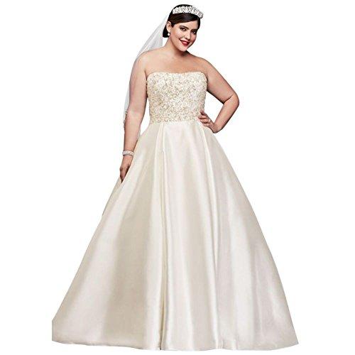 Plus Ivory 8CWG791 Crystal Bridal Dress Size Style s Mikado Encrusted David Wedding qZFaBF