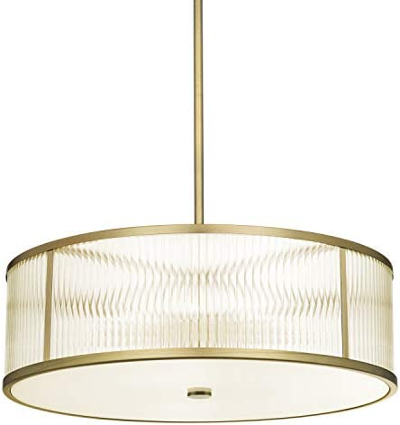 Brass Drum Chandelier Ceiling Light – Ribbed Glass LED 24 Pendant Fixture, Damp Located, Dimmable, ETL Listed – Harper Collection by Brooklyn Bulb Co.