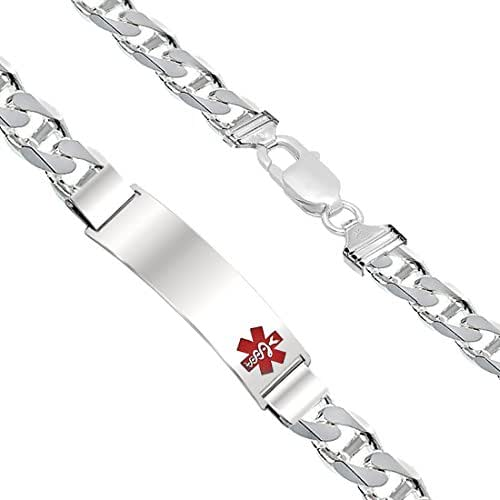 US Jewels And Gems Customizable Men's 0.925 Sterling Silver 9mm Anchor Medical Alert ID Bracelet, 6.5in to 8in Length
