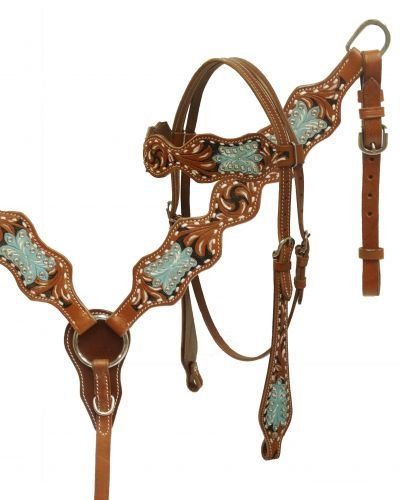 (Painted filigree tooled headstall and breast collar set)